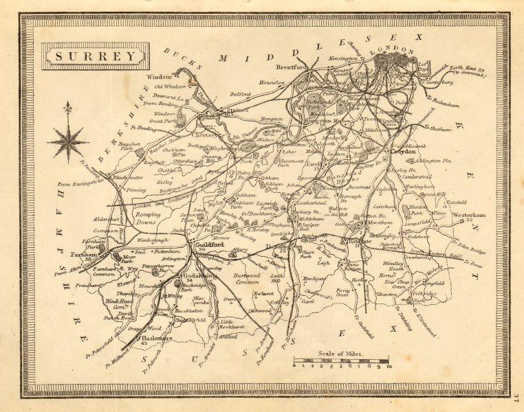Antique county map of Surrey by John Heywood. Railways & coach roads c1864