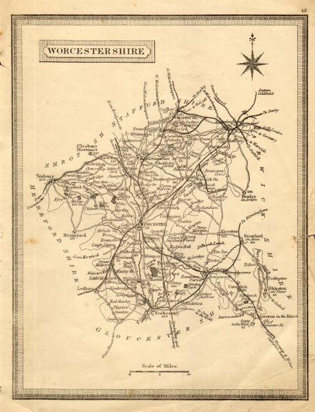 Associate Product Antique county map of Worcestershire. John Heywood. Railways. Coach roads c1864