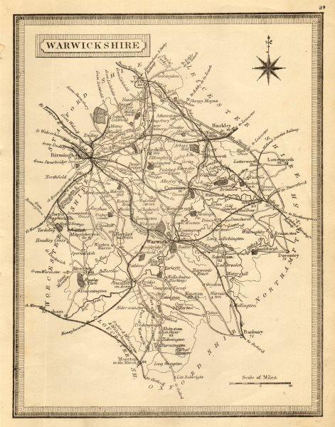 Associate Product Antique county map of Warwickshire by John Heywood. Railways & coach roads c1864
