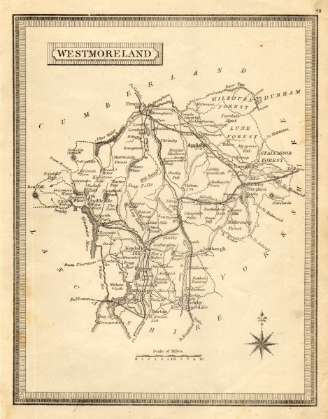 Associate Product Antique county map of Westmoreland by John Heywood. Railways & coach roads c1864