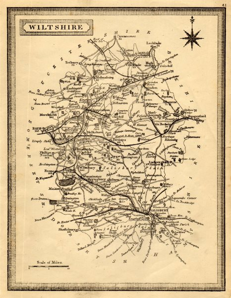 Associate Product Antique county map of Wiltshire by John Heywood. Railways & coach roads c1864