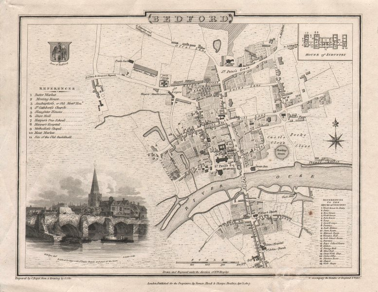 Associate Product Antique town city plan of BEDFORD by George COLE & John ROPER 1810 old map