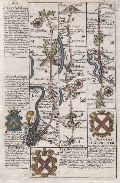 Associate Product London-Deptford-Shooter's Hill-Dartford-Rochester OWEN/BOWEN road map c1753
