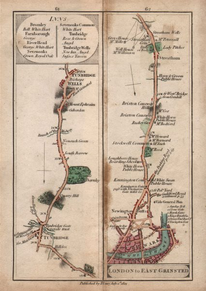 Associate Product Southwark-Stockwell-Brixton-Streatham & Tonbridge-Tunbridge Wells. CARY 1801 map