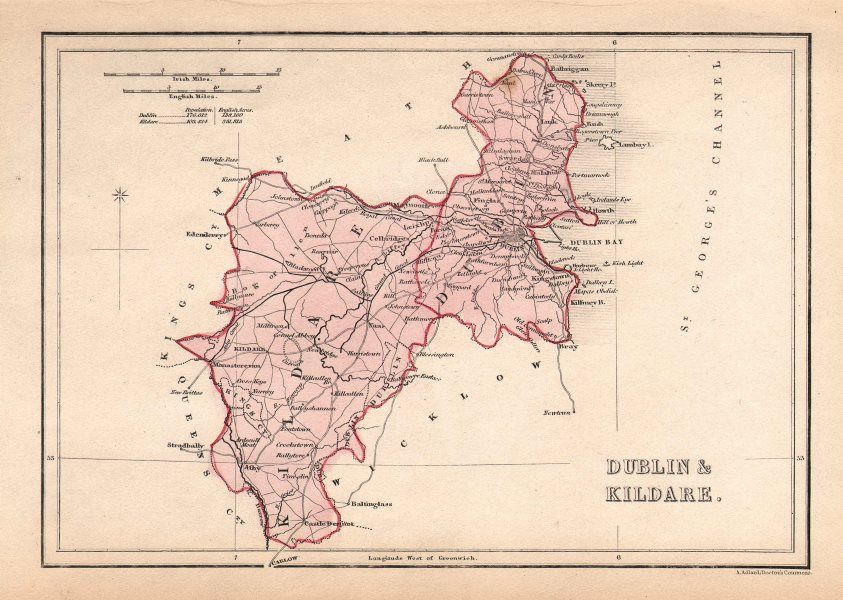 Map Of Dublin 6 Ireland.Antique Dublin Kildare County Map By Alfred Adlard Ireland C1841