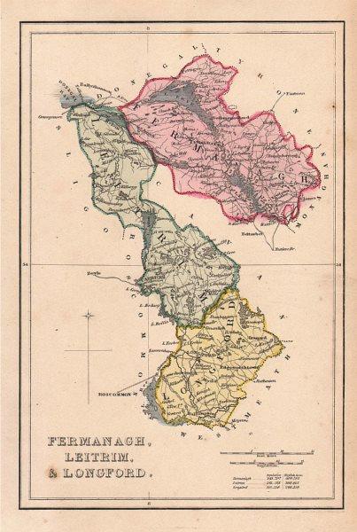 Associate Product Antique FERMANAGH, LEITRIM, & LONGFORD county map. ADLARD. Ireland Ulster c1841
