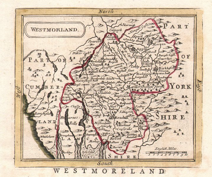 Associate Product Antique county map of Westmorland. Seller/Grose. Outline colour c1780 old