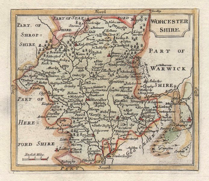Associate Product Antique county map of Worcestershire by John Seller / Francis Grose c1780