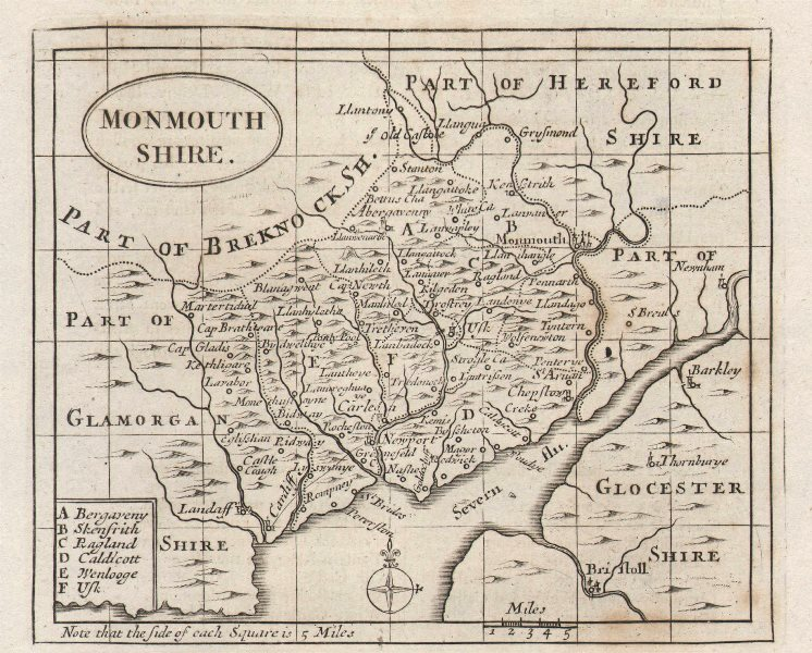 Associate Product Antique county map of Monmouthshire by John Seller / Francis Grose c1780