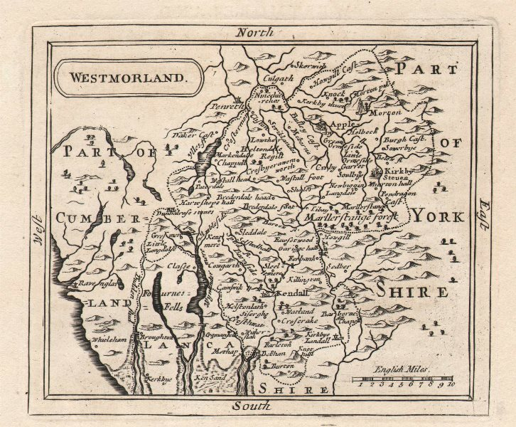 Antique county map of Westmorland. John Seller / Francis Grose. Uncoloured c1780