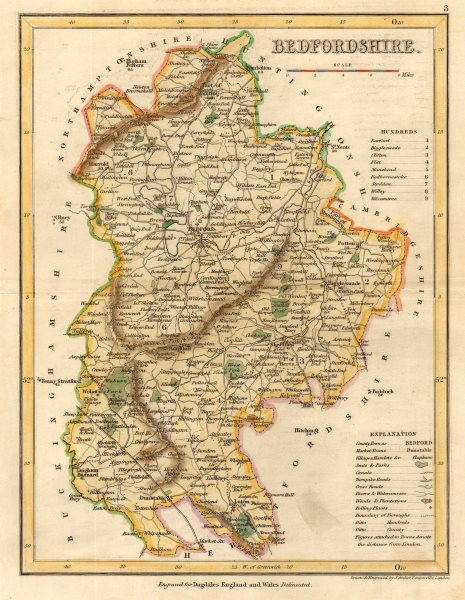 Associate Product BEDFORDSHIRE county map by ARCHER & DUGDALE. Seats canals polling places 1845