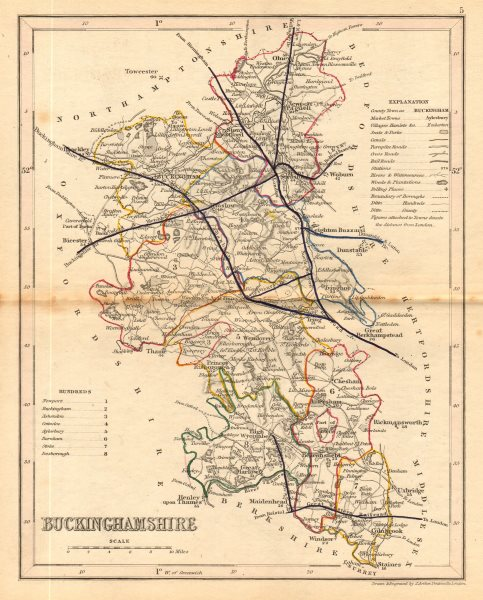 Associate Product BUCKINGHAMSHIRE county map. ARCHER & DUGDALE. Seats canals polling places 1845