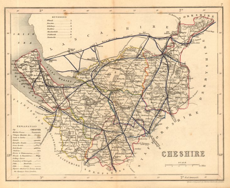 Associate Product CHESHIRE county map. ARCHER & DUGDALE. Seats canals polling places 1845