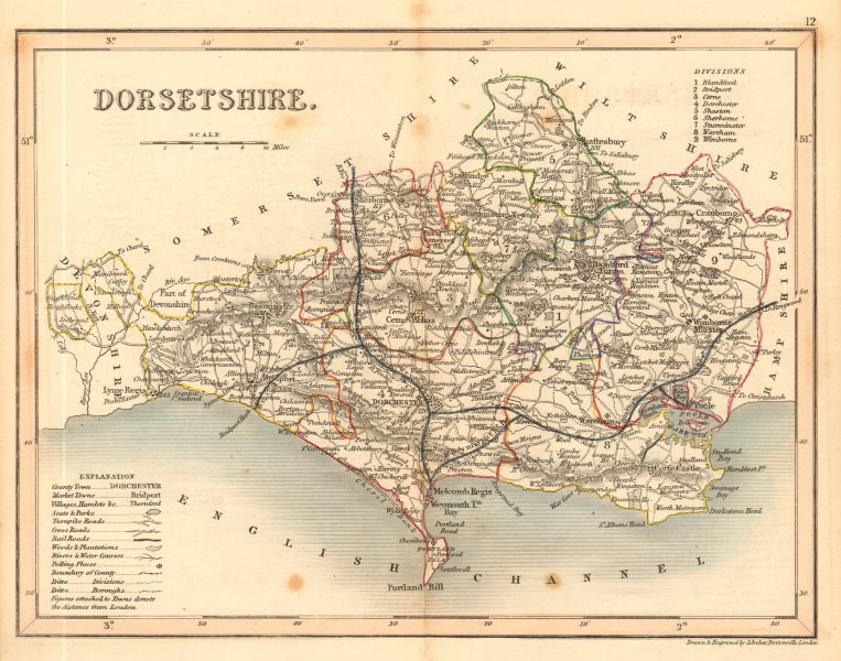 Associate Product DORSETSHIRE county map by ARCHER & DUGDALE. Seats polling places 1845 old