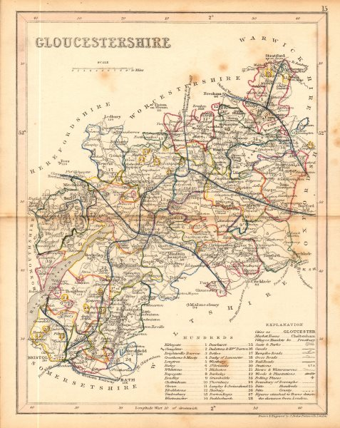 Associate Product GLOUCESTERSHIRE county map. ARCHER & DUGDALE. Seats canals polling places 1845