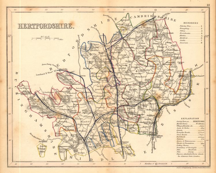 HERTFORDSHIRE county map by ARCHER & DUGDALE. Seats canals polling places 1845