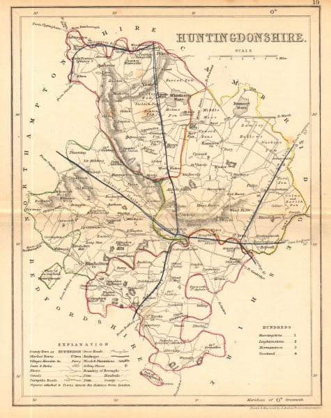 Associate Product HUNTINGDONSHIRE county map. ARCHER & DUGDALE. Seats canals polling places 1845