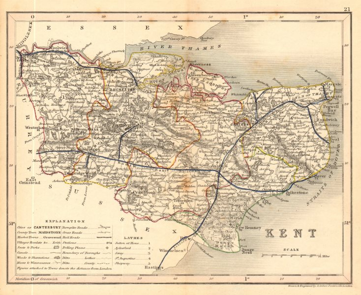 KENT map by ARCHER & DUGDALE. Seats canals polling places 1845 old antique