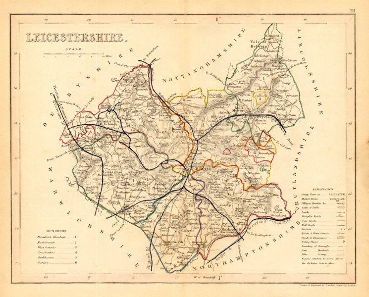 Associate Product LEICESTERSHIRE map by ARCHER & DUGDALE. Seats canals polling places 1845