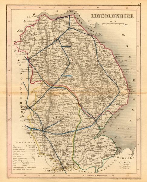 Associate Product LINCOLNSHIRE map by ARCHER & DUGDALE. Seats canals polling places 1845 old