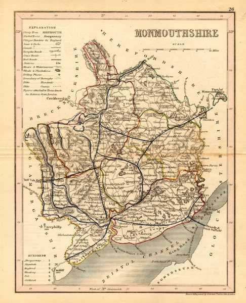 Associate Product MONMOUTHSHIRE map by ARCHER & DUGDALE. Seats canals polling places 1845