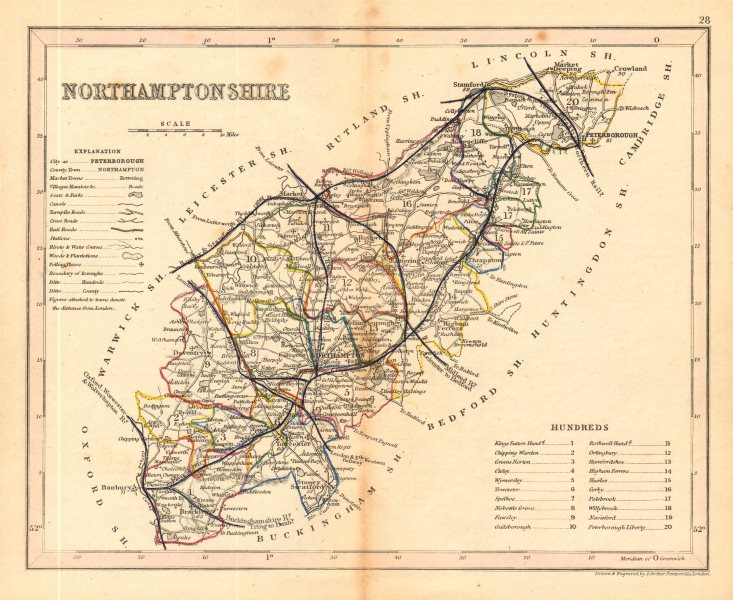 Associate Product NORTHAMPTONSHIRE map by ARCHER & DUGDALE. Seats canals polling places 1845