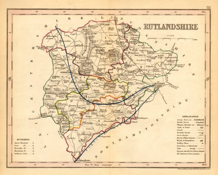 RUTLANDSHIRE county map by ARCHER & DUGDALE. Seats canals polling places 1845