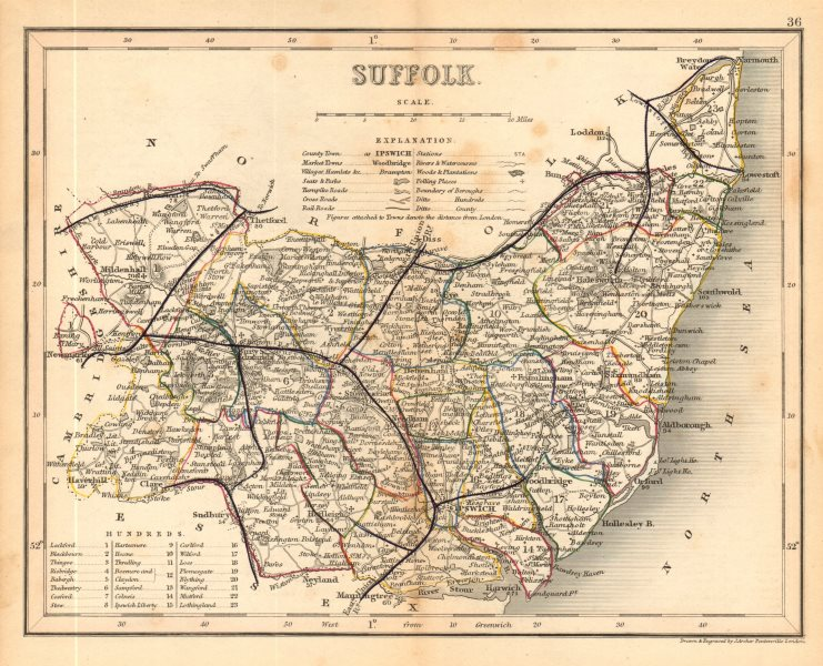Associate Product SUFFOLK county map by ARCHER & DUGDALE. Seats polling places 1845 old