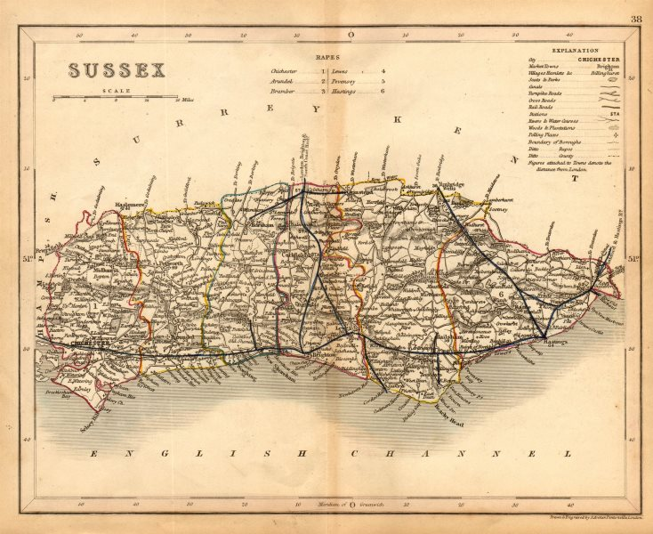 Associate Product SUSSEX county map by ARCHER & DUGDALE. Seats canals polling places 1845