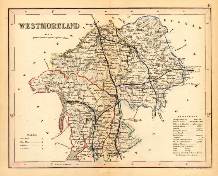 Associate Product WESTMORELAND county map by ARCHER & DUGDALE. Lake District. Canals seats 1845
