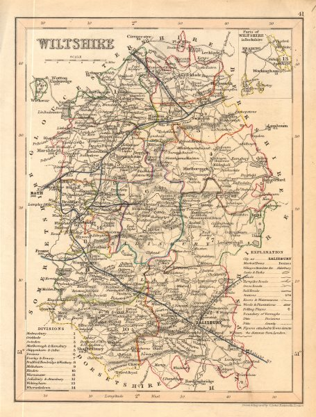 WILTSHIRE county map by ARCHER & DUGDALE. Canals polling places exclaves 1845