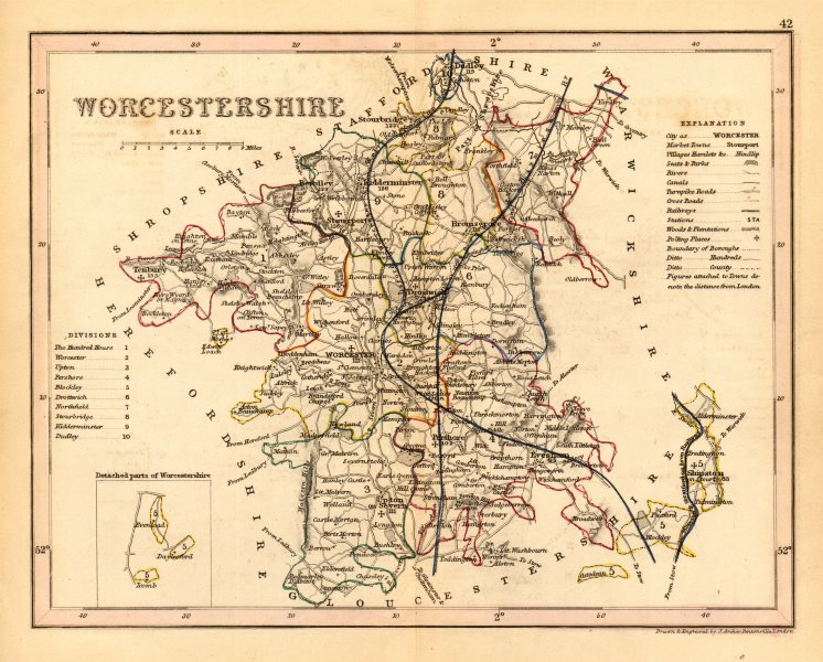 Associate Product WORCESTERSHIRE county map. ARCHER & DUGDALE. Seats canals polling places 1845