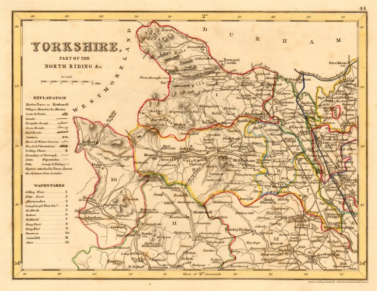 Associate Product YORKSHIRE, NORTH WEST county map showing wapentakes by ARCHER & DUGDALE 1845