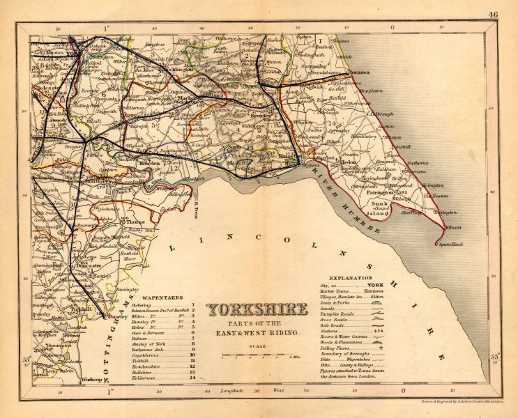 Associate Product YORKSHIRE, SOUTH EAST county map showing wapentakes by ARCHER & DUGDALE 1845