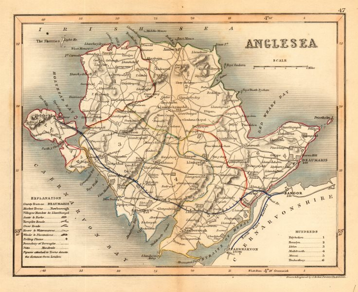 Associate Product ANGLESEA county map by ARCHER & DUGDALE. Seats polling places 1845 old
