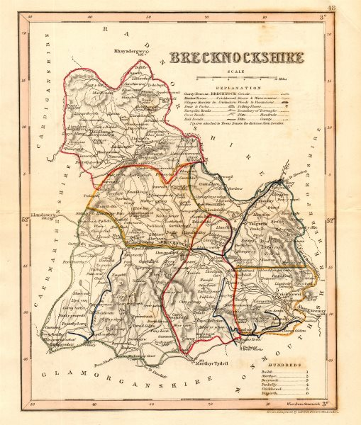 Associate Product BRECKNOCKSHIRE county map. ARCHER & DUGDALE. Breconshire. Seats canals 1845
