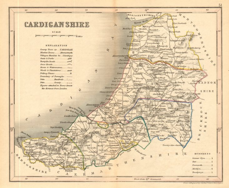Associate Product CARDIGANSHIRE county map by ARCHER & DUGDALE. Seats canals polling places 1845