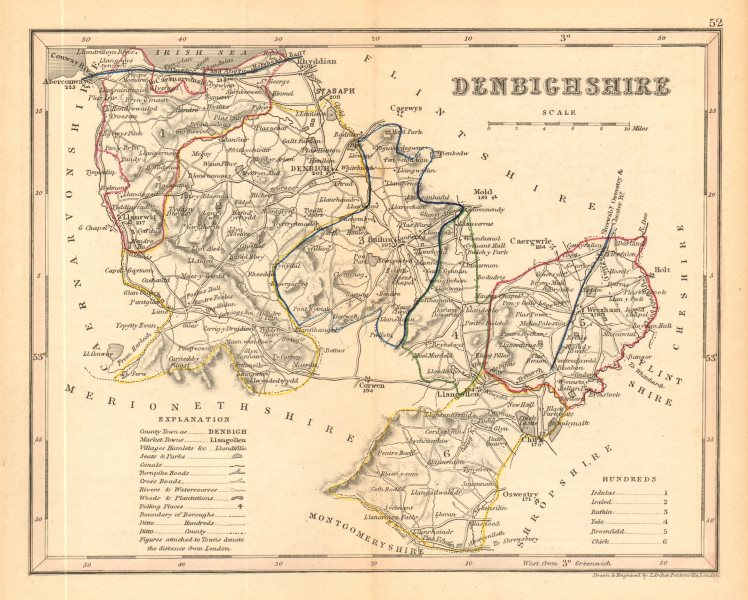 Associate Product DENBIGHSHIRE county map by ARCHER & DUGDALE. Seats canals polling places 1845