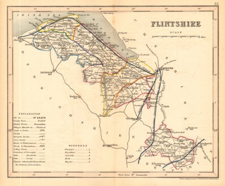 Associate Product FLINTSHIRE county map by ARCHER & DUGDALE. Seats canals polling places 1845