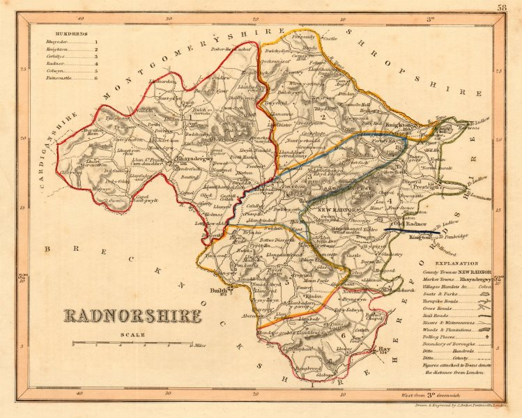 Associate Product RADNORSHIRE county map by ARCHER & DUGDALE. Seats canals polling places 1845