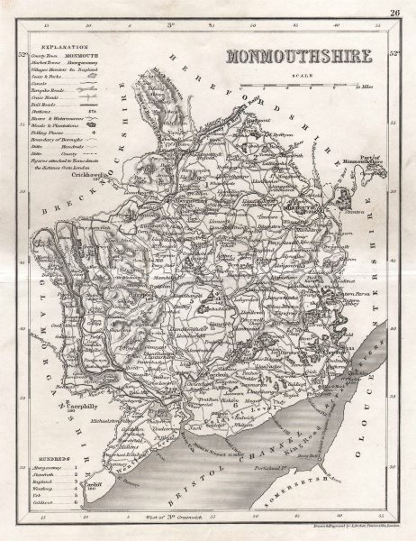 Associate Product MONMOUTHSHIRE county map by DUGDALE/ARCHER. Seats canals polling places 1845