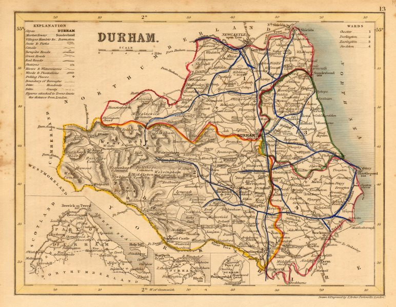 Associate Product DURHAM county map w/ exclaves. ARCHER & DUGDALE. Seats polling places c1845