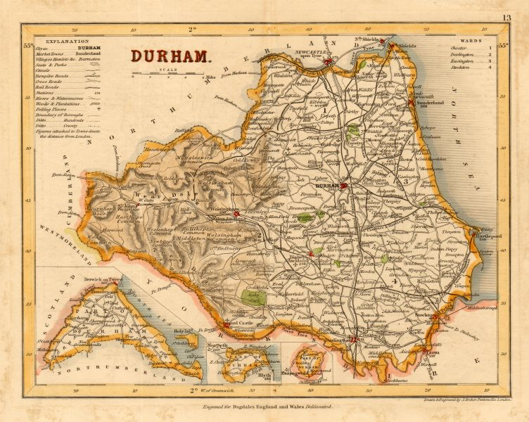 Associate Product DURHAM county map w/ exclaves. ARCHER & DUGDALE. Polling places seats c1845