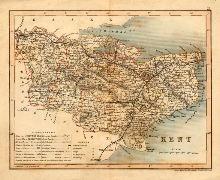 Associate Product KENT map by ARCHER & DUGDALE. Seats canals polling places c1845 old