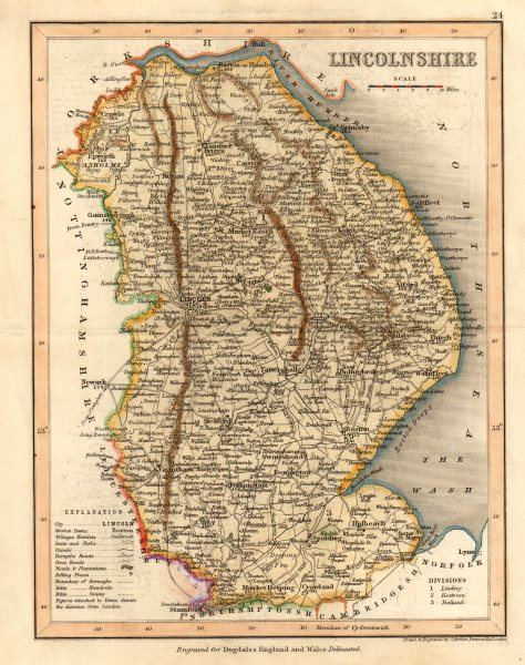 Associate Product LINCOLNSHIRE map by ARCHER & DUGDALE. Canals seats polling places c1845