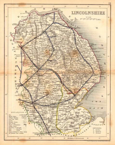 Associate Product LINCOLNSHIRE map by ARCHER & DUGDALE. Seats polling places canals c1845