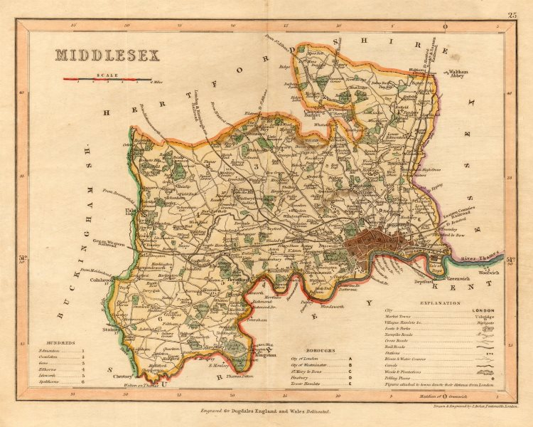Associate Product MIDDLESEX map by ARCHER & DUGDALE. Seats canals polling places c1845 old