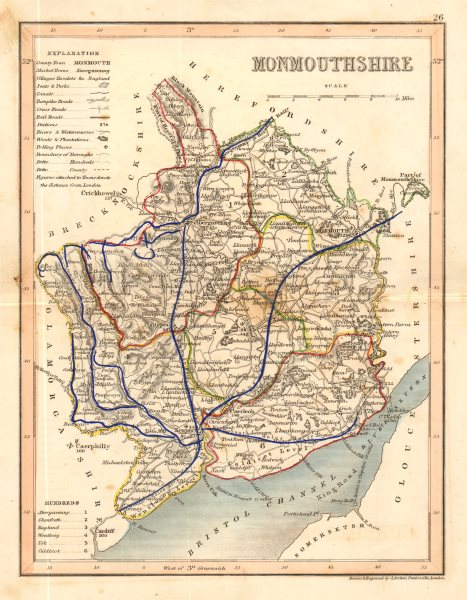 Associate Product MONMOUTHSHIRE map by ARCHER & DUGDALE. Seats canals polling places c1845