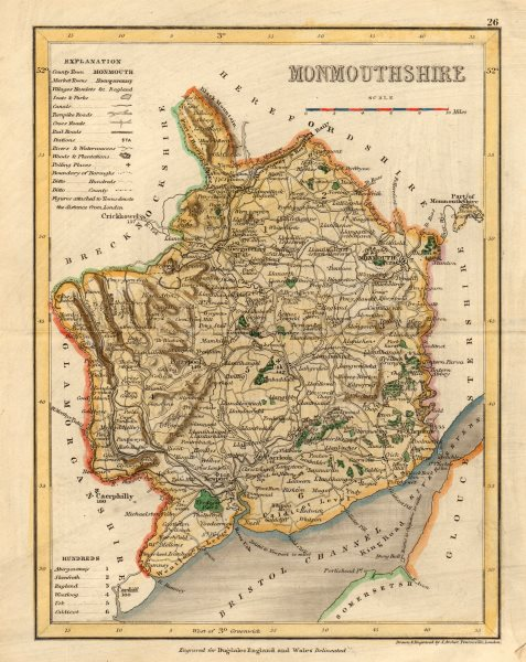 Associate Product MONMOUTHSHIRE map by ARCHER & DUGDALE. Seats polling places canals c1845