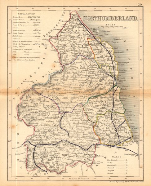 Associate Product NORTHUMBERLAND map by ARCHER & DUGDALE. Seats canals polling places c1845